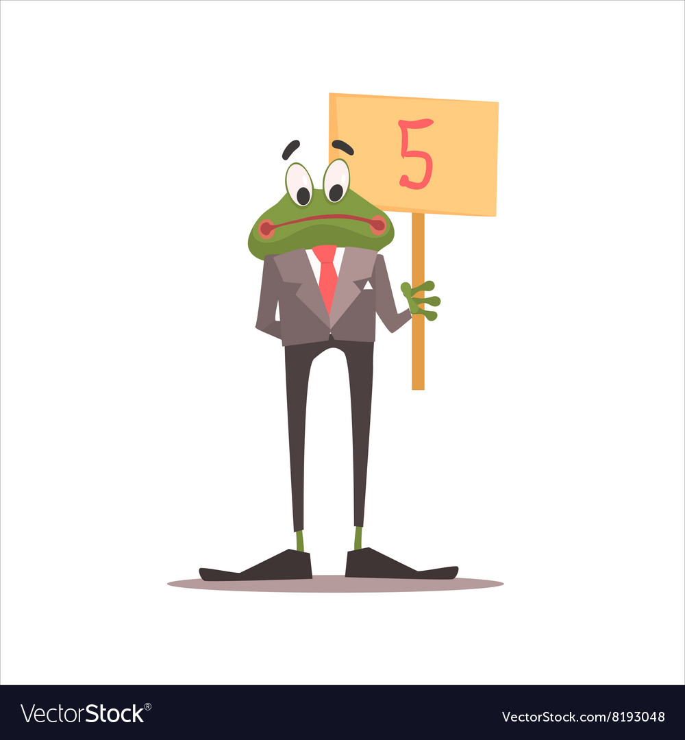 Frog holding 5 sign vector