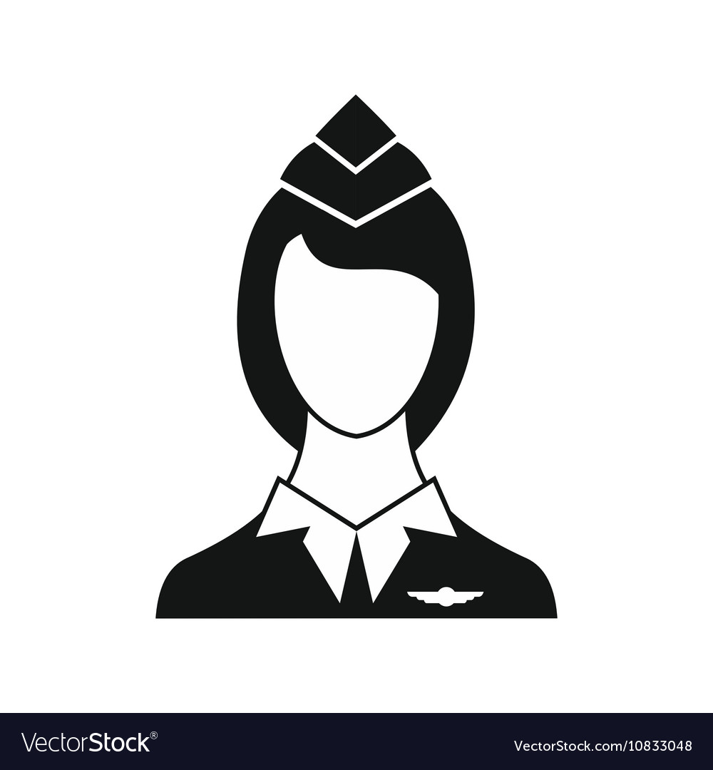 Stewardess icon in simple style vector