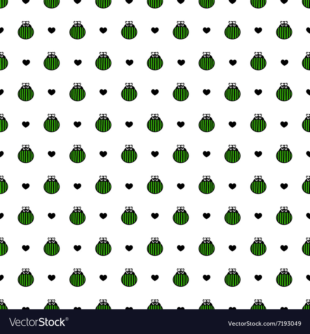 Bug green and black hearts seamless pattern vector