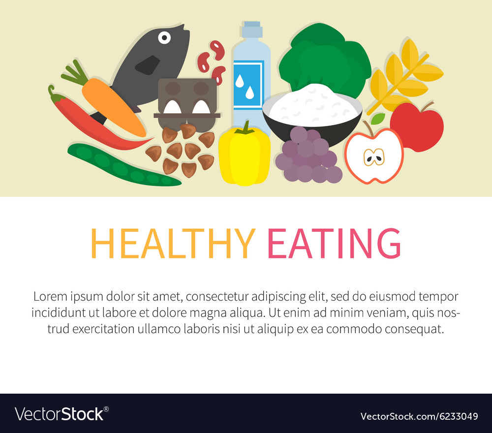 Healthy eating banner flat vector