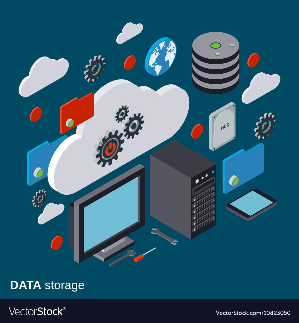 Cloud computing data storage computer equipment vector