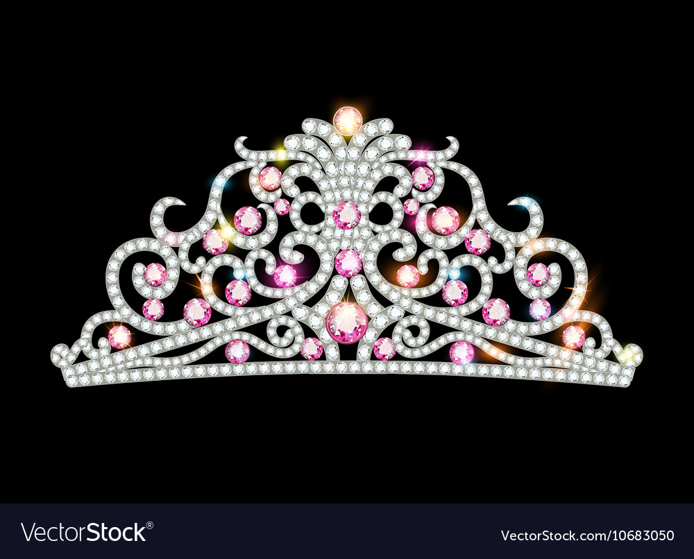 Pink diadem feminine crown vector