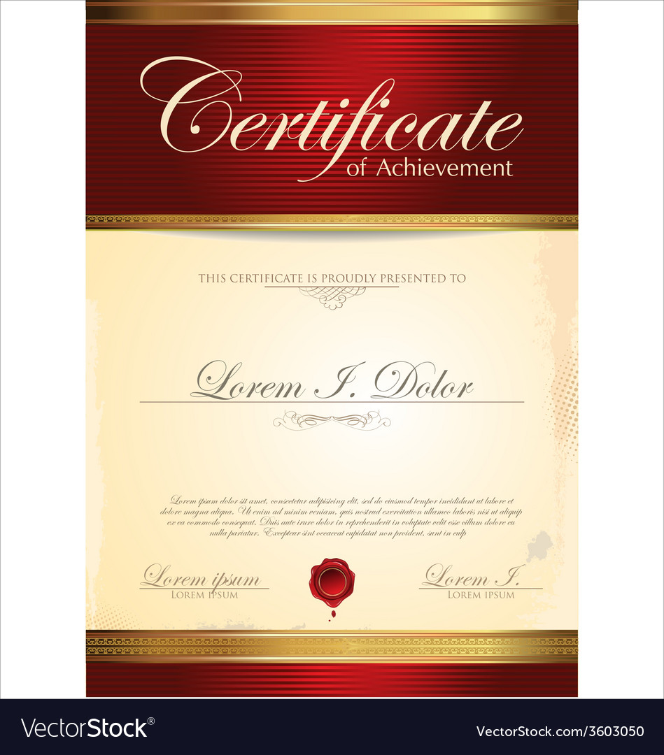 Red and gold certificate template vector