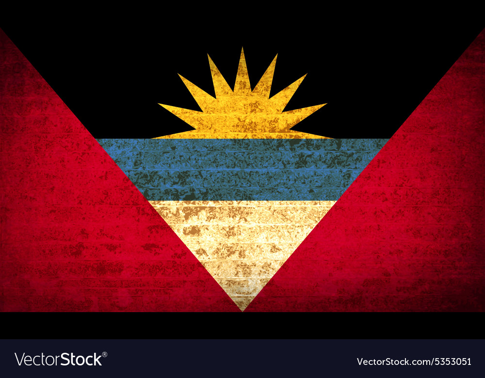 Flags of antigua and barbuda with dirty paper vector