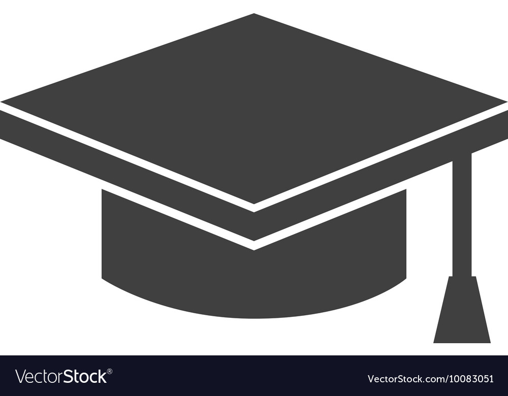 Hat graduation silhouette icon vector