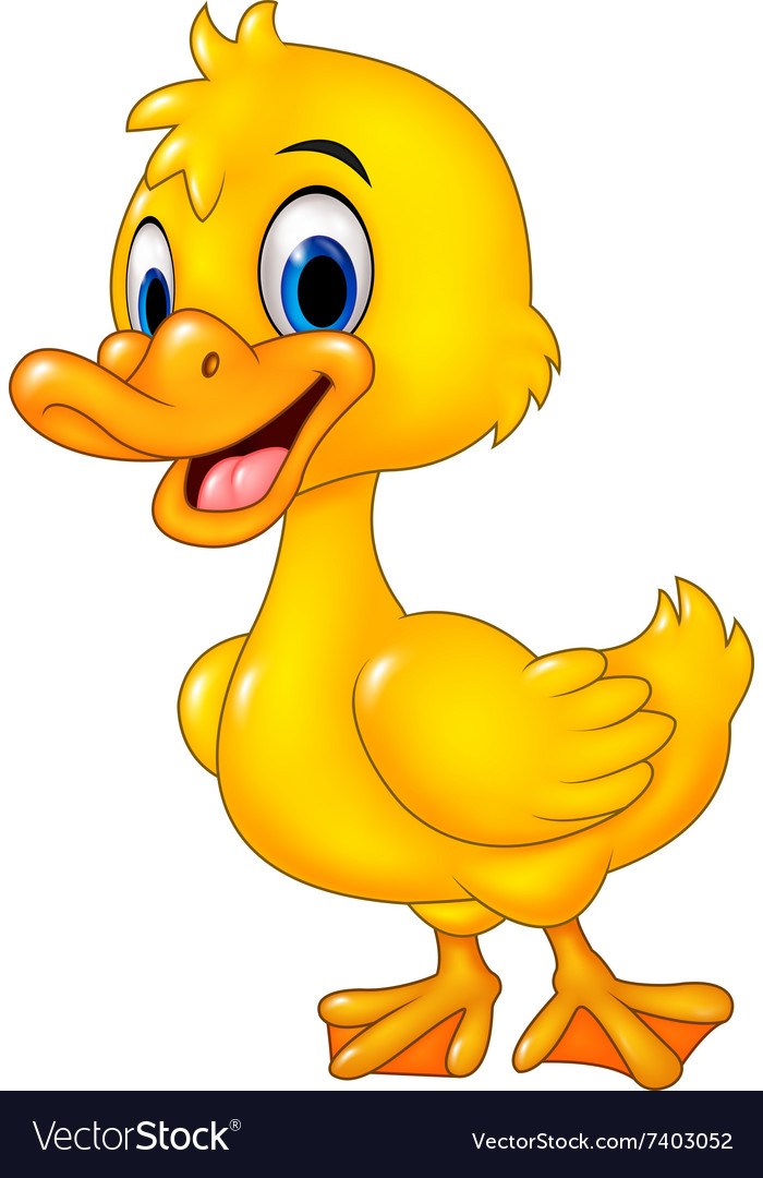 Cartoon funny baby duck posing isolated vector