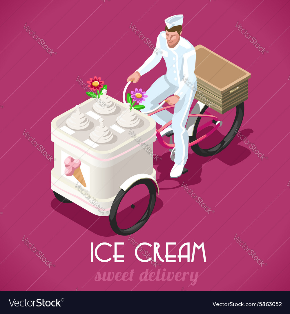 Icecream man people isometric vector