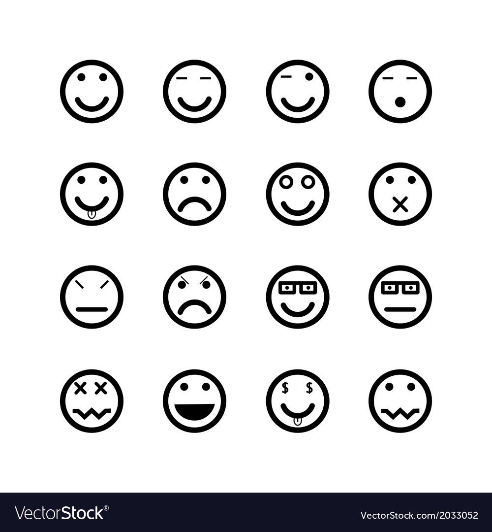 Icons of smiley faces vector