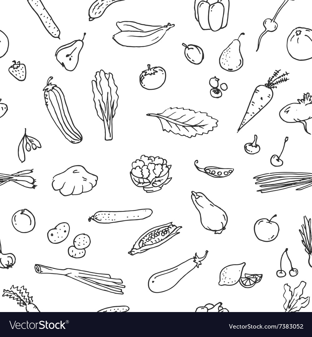 Seamless pattern fruits and vegetables sketch set vector