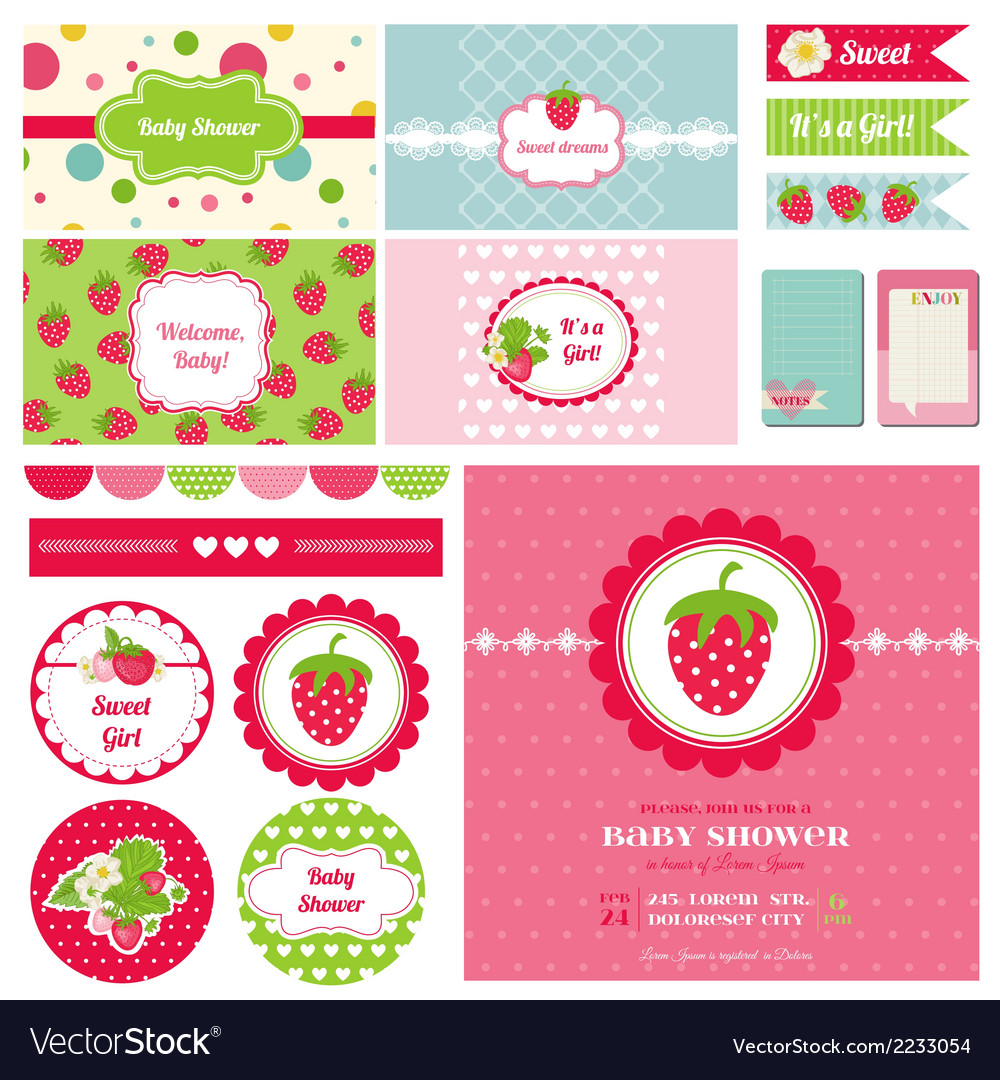 Design elements  strawberry baby shower theme vector