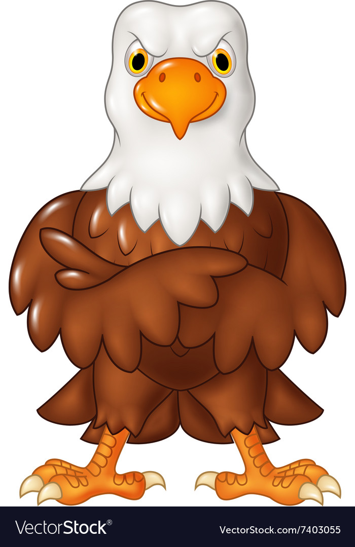 Cartoon funny eagle cartoon posing isolated vector