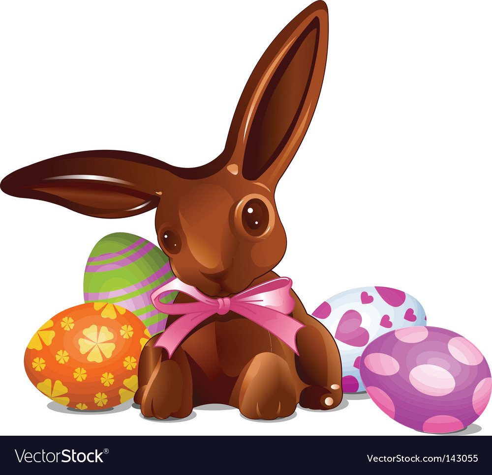 Chocolate easter bunny vector