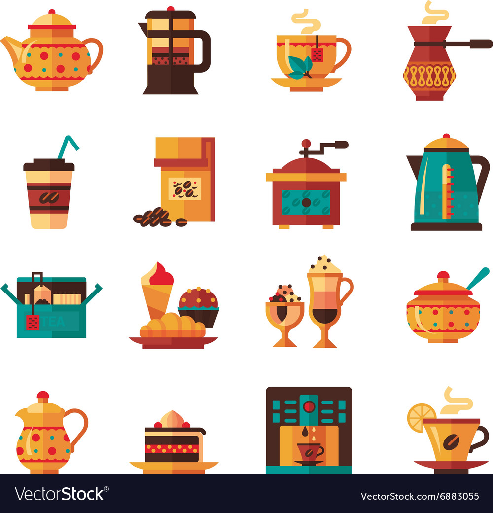 Coffe and tea set icons flat vector
