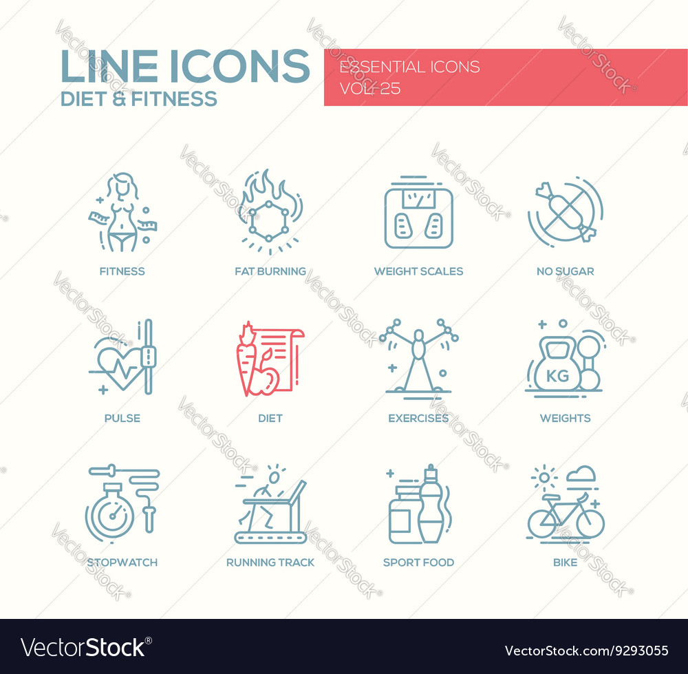 Diet and fitness  line design icons set vector