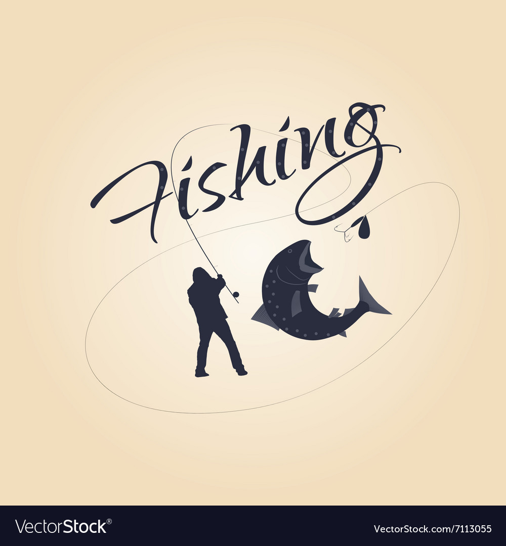 Logo fishing and design elements vector