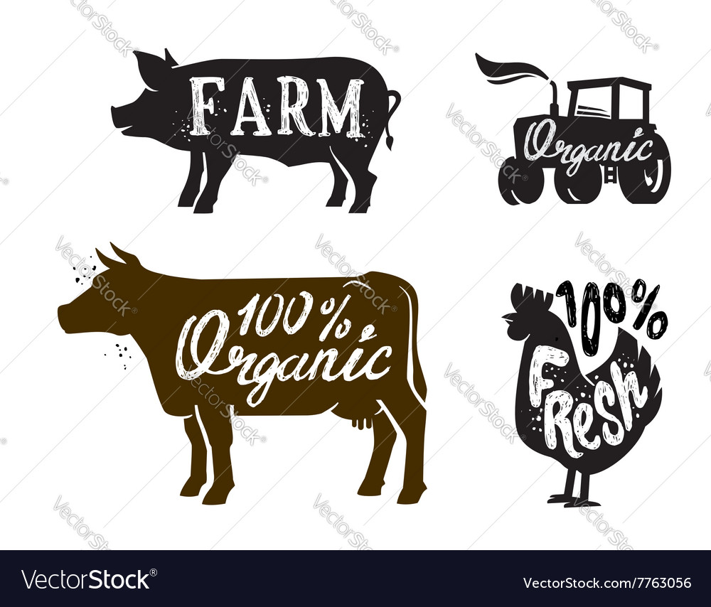 Farm animal and text vector