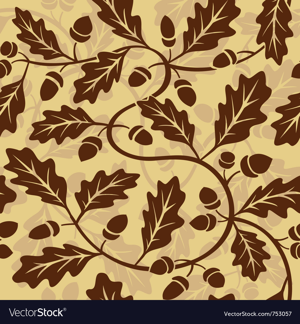 Oak leaf acorn seamless background vector