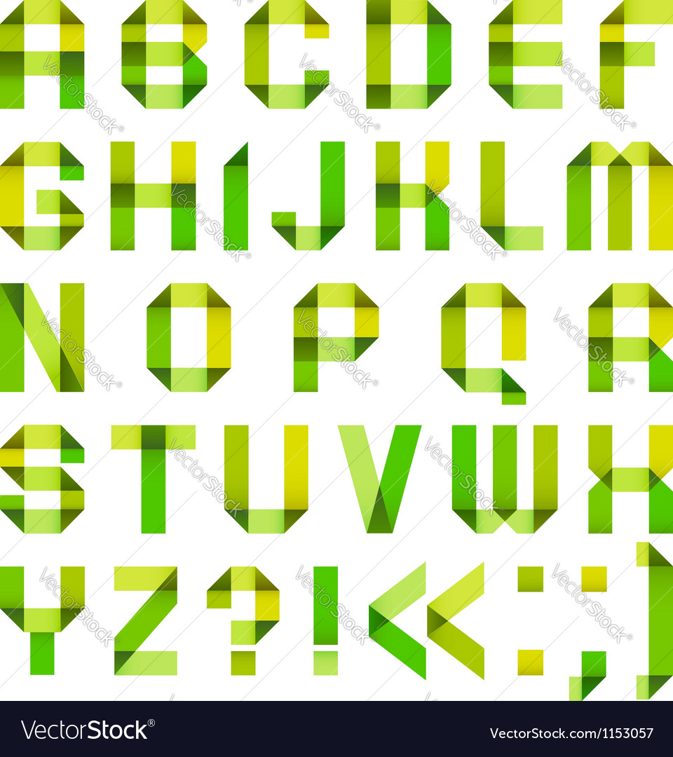 Spectral letters folded of paper ribbongreen and vector