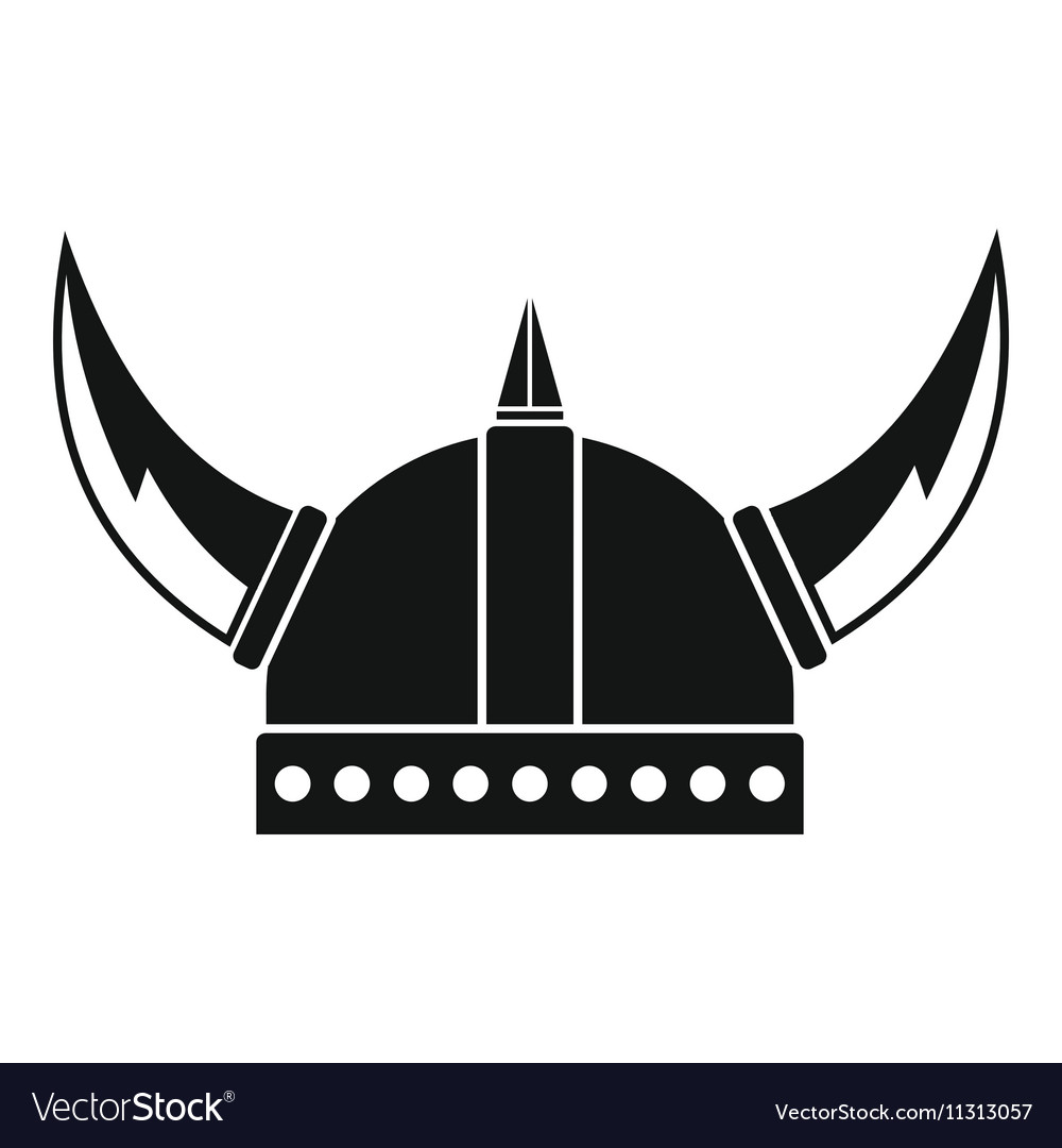Viking helmet icon simple style vector