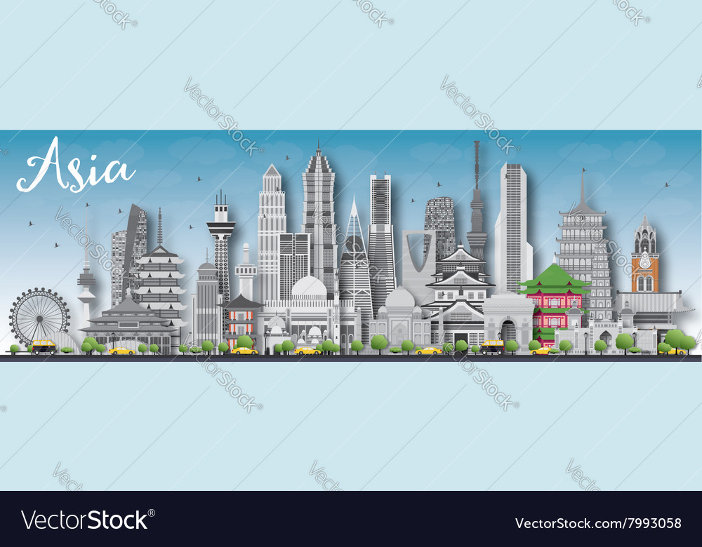 Asia skyline silhouette with different landmarks vector