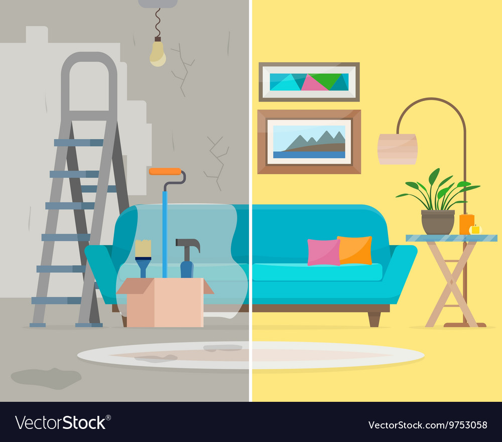Room before and after repair vector
