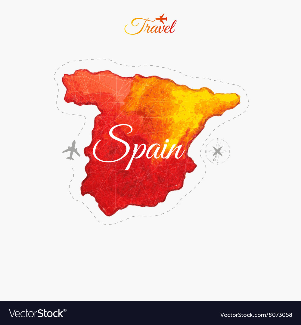Travel around the world spain watercolor map vector