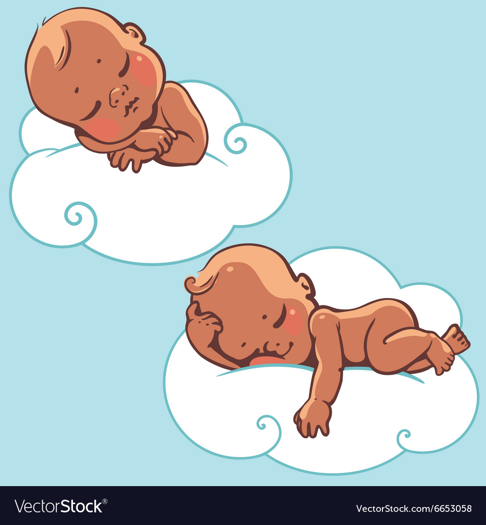 Two babies sleeping on cloud vector