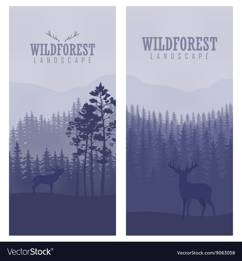 Vertical abstract banners of wild deer in forest vector