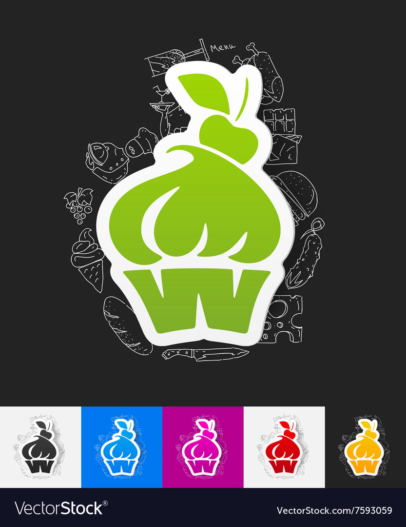 Cake paper sticker with hand drawn elements vector