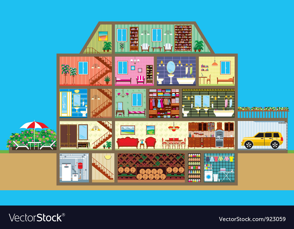 House in a cut vector