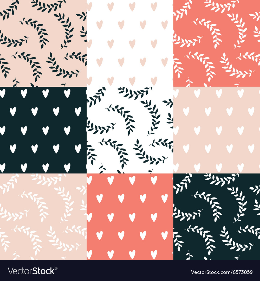 Seamless background pattern set cute hand drawn vector