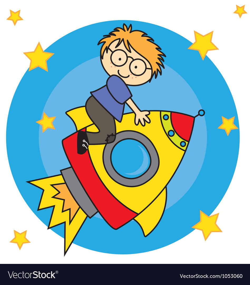Child flying a spaceship vector