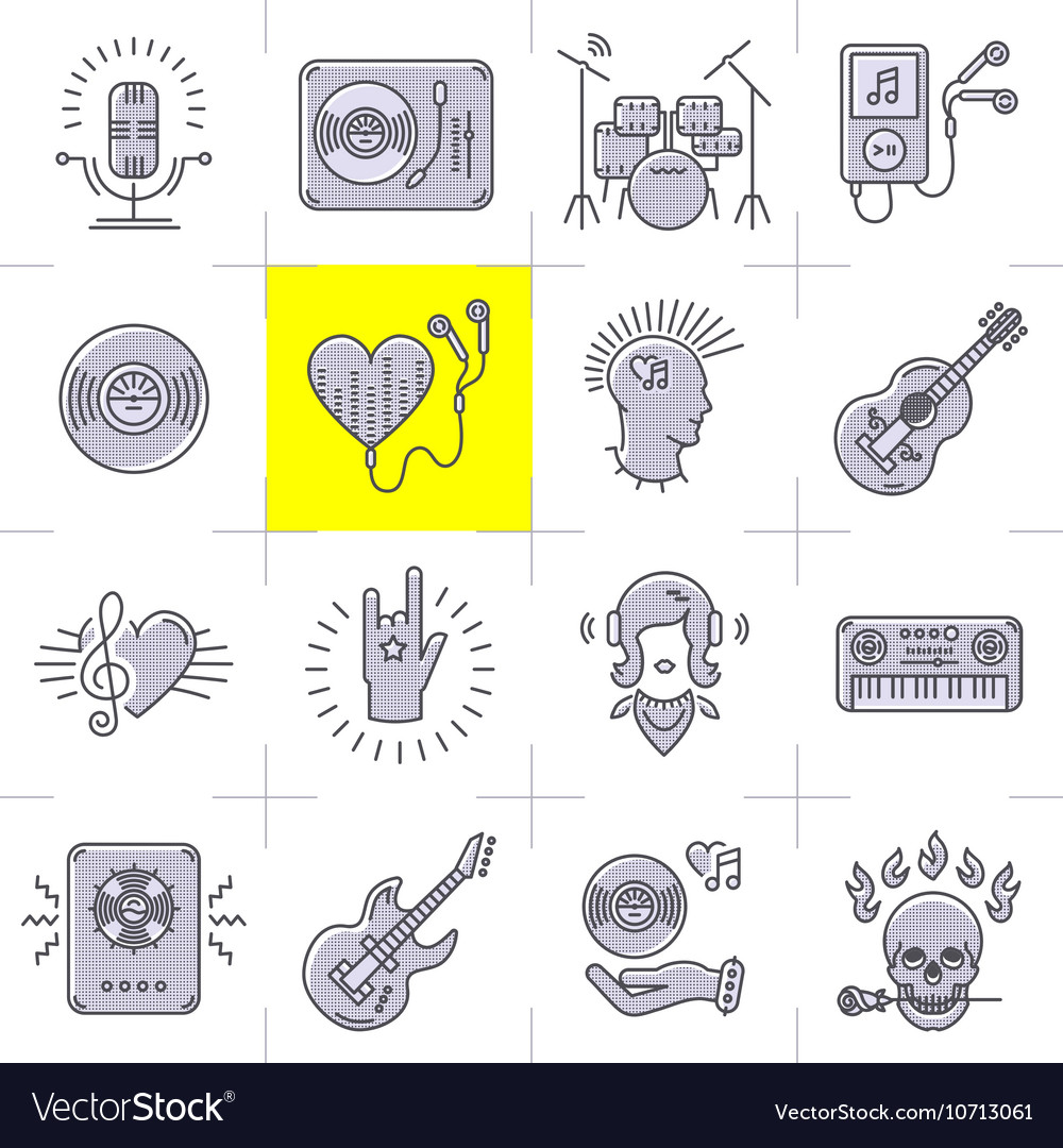 Line art music icons set rock punk symbols vector