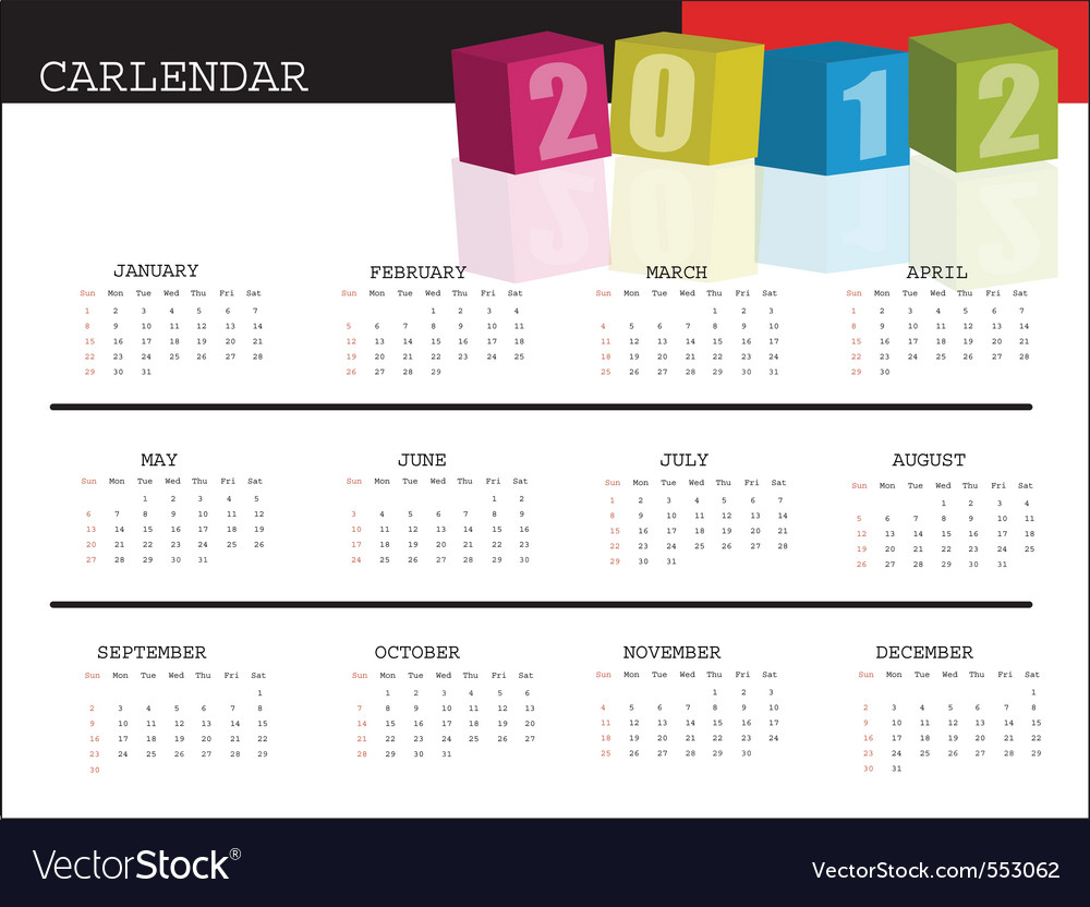 A calendar for 2012 desktop calendar or postcard vector