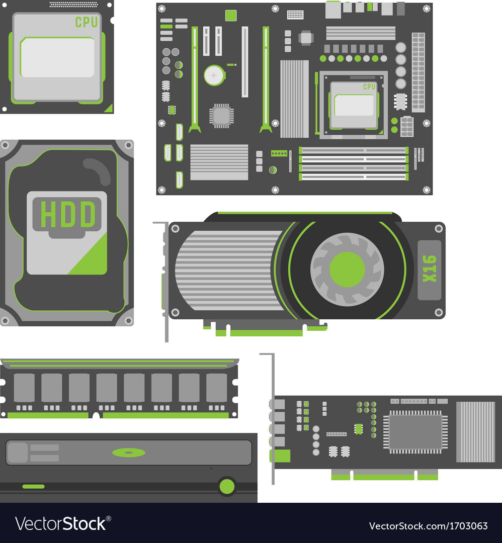 Stylish simple computer parts vector