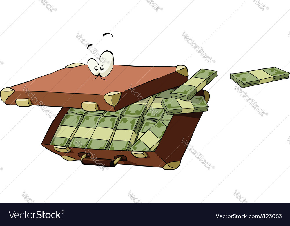 Suitcase of money vector