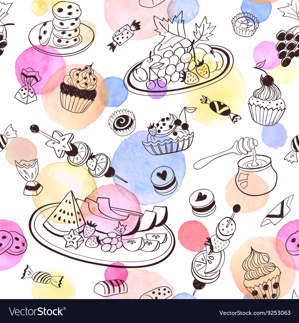 Sweets seemless pattern vector