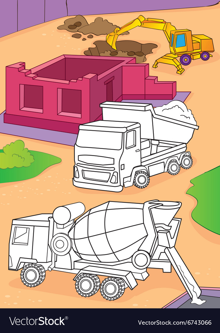 Coloring book of cement mixer truck and excavator vector