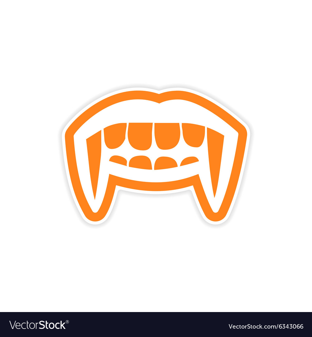 Sticker vampire bright smile on white background vector