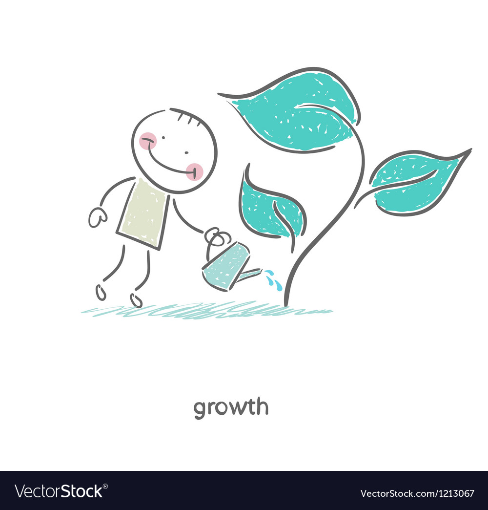 Man watering a plant vector