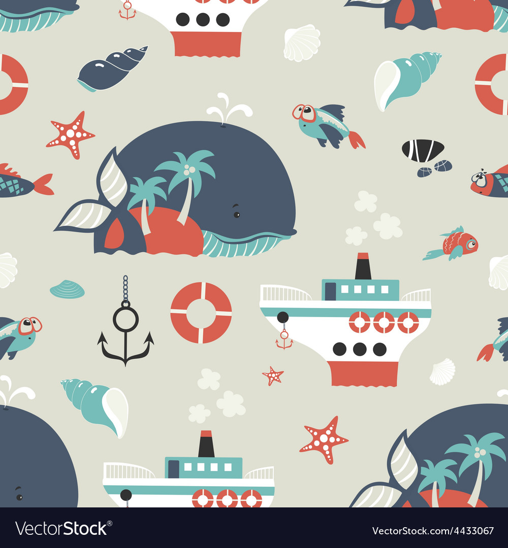 Seamless background with sea objects vector