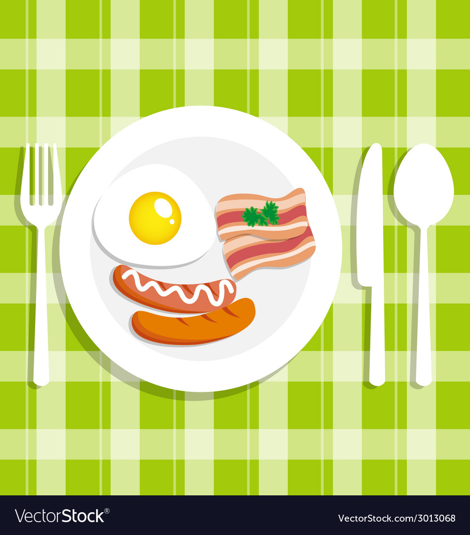 Breakfast food with egg vector