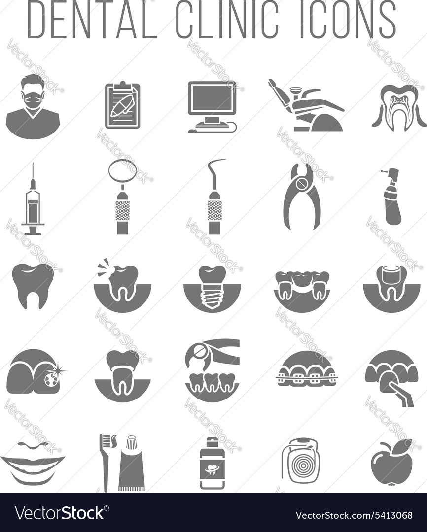 Dental clinic services flat silhouettes icons vector