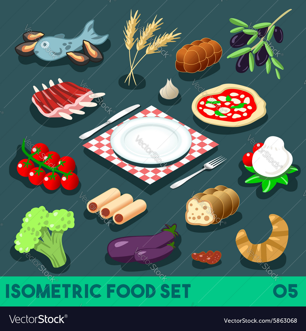 Diet set 05 food isometric vector