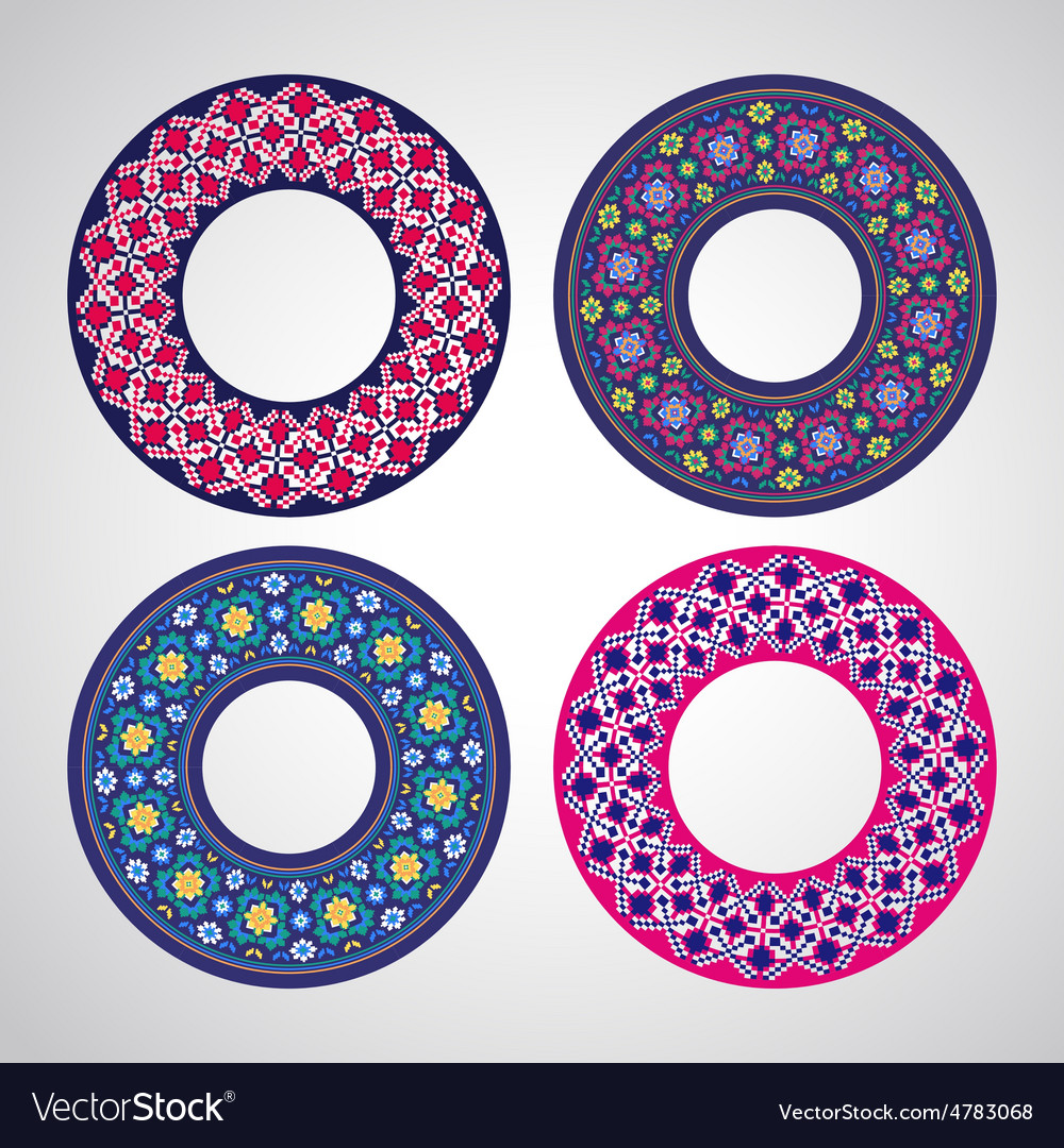 Ukrainian embroidered round motifs vector