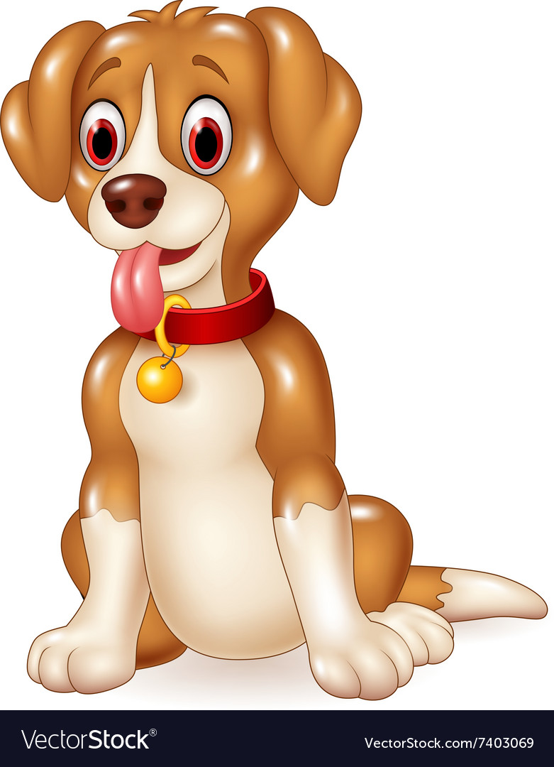 Cartoon funny dog sitting with tongue out vector