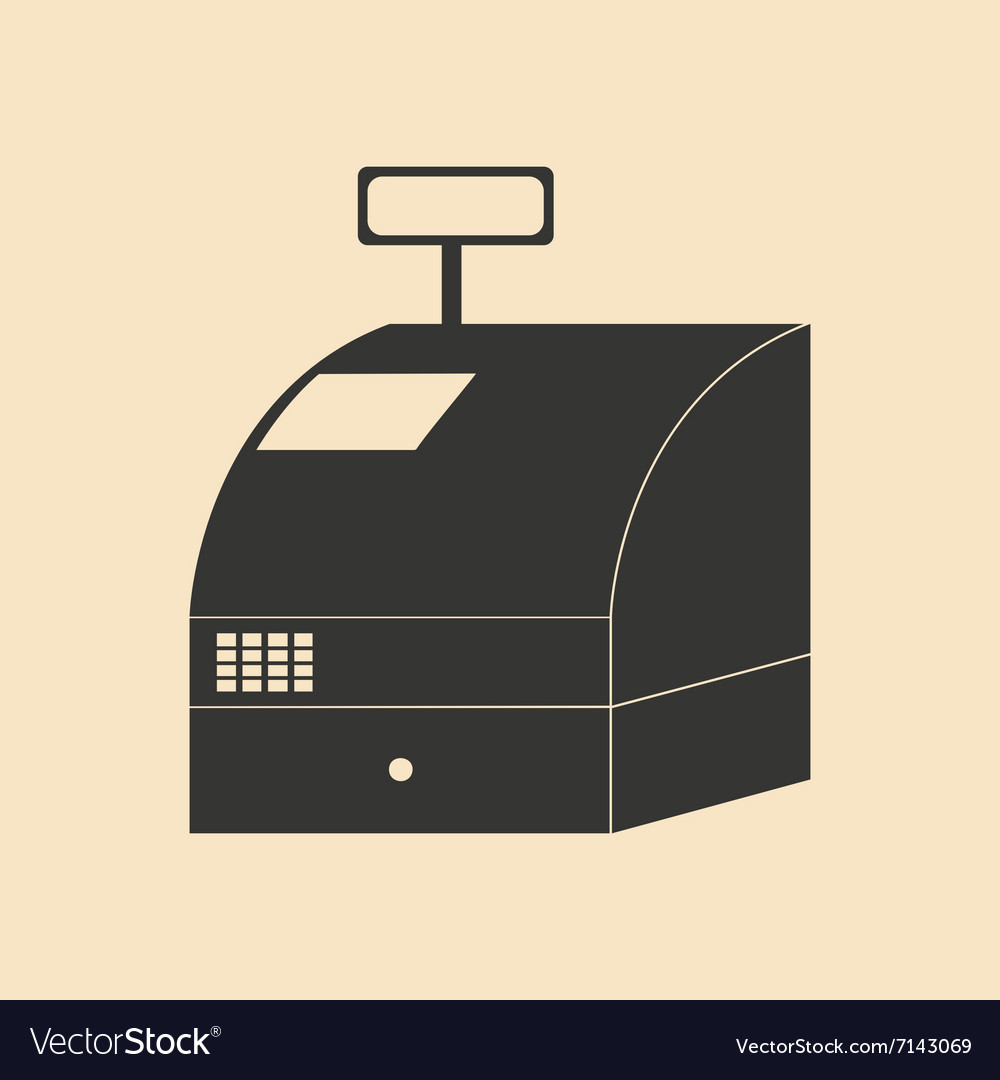 Flat in black and white cash register vector
