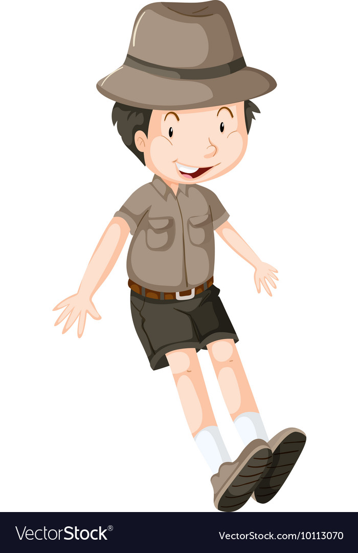 Little boy wearing safari outfit vector