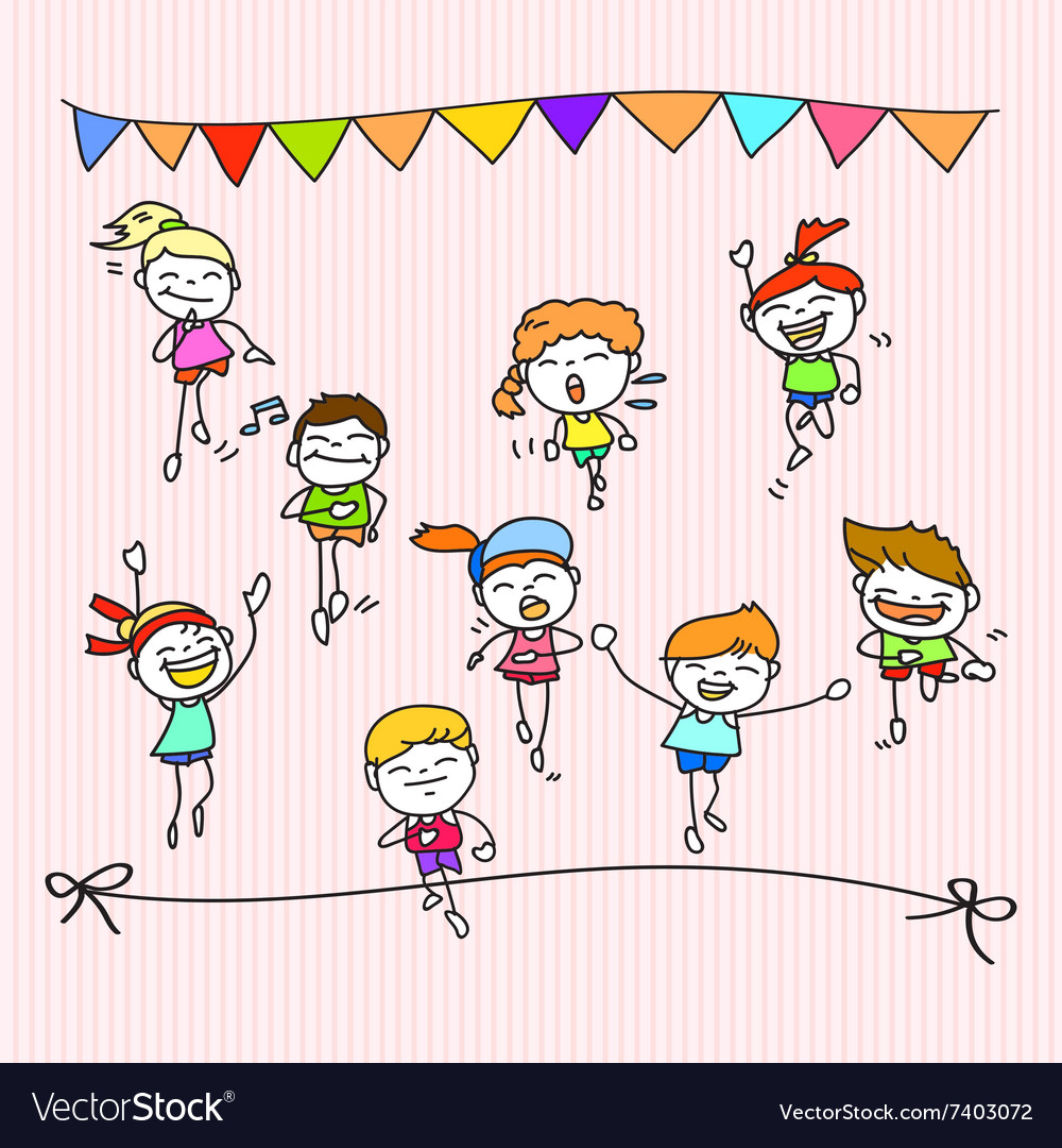 Hand drawing cartoon happy kids running marathon vector