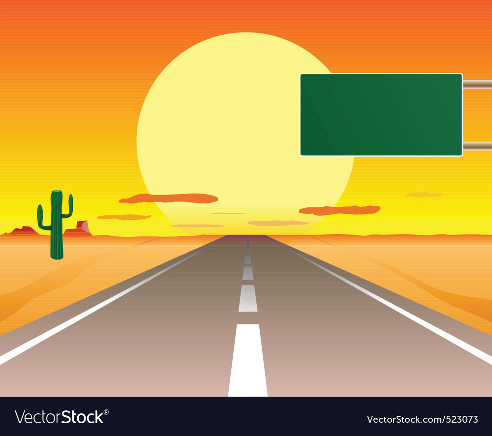 Desert road vector